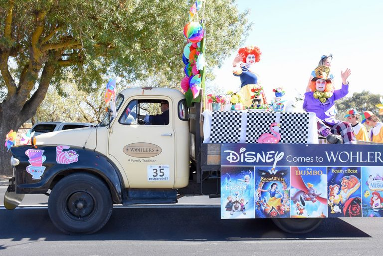 Wohlers, Tanunda took on a Disney theme for their float entry which included James Wohlers driving the truck, Rachel Wohlers as the Queen of Hearts and Mark Battersby as the Mad Hatter.